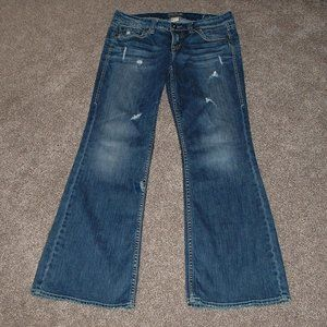 Lola Silver Jeans Distressed Destroyed Pants